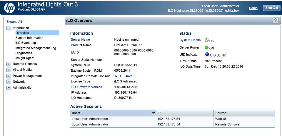 iLO 3 Oberfläche des HP DL360 G7 Servers