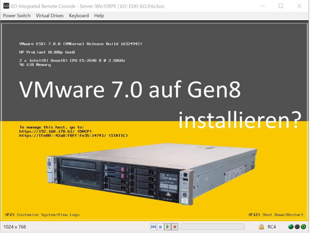 VMware auf HP Dl380p Gen8 installieren?